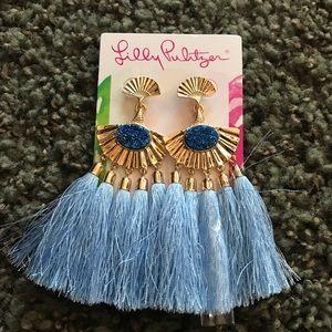 Lilly Pulitzer Earrings GP Fan Design Blue Tassel